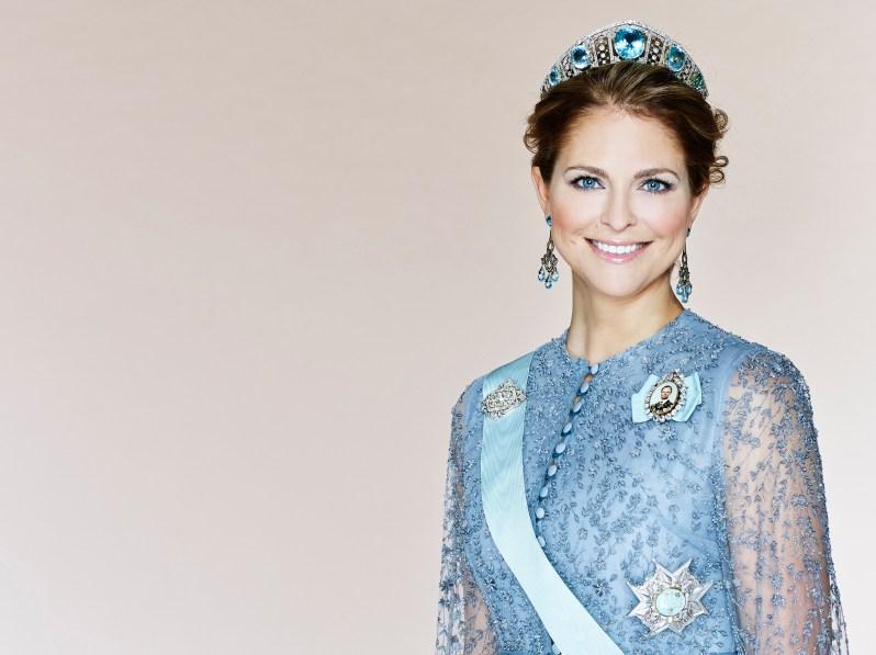 Die Aquamarine Kokoshnik-Tiara passt hervorragend zu den blauen Augen von Prinzessin Madeleine.  ©Anna-Lena Ahlström, Kungahuset.se