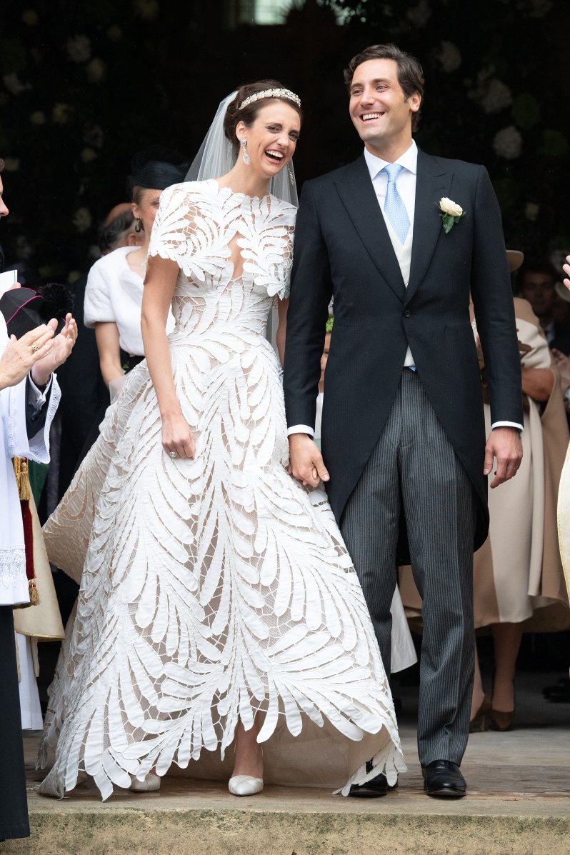 Olympia von Arco-Zinneberg trug ein außergewöhnliches Brautkleid von Oscar de la Renta. © picture alliance / abaca