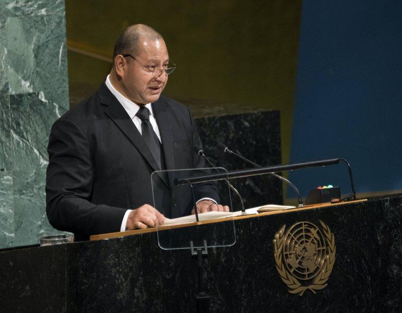 König Tupou hält eine Rede bei den Vereinten Nationen. © picture alliance / AP Photo