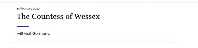 Die Gräfin von Wessex besucht Deutschland. Welche Stadt sich über ihren Besuch freuen kann, verrät das Königshaus nicht.  © Screenshot royal.uk