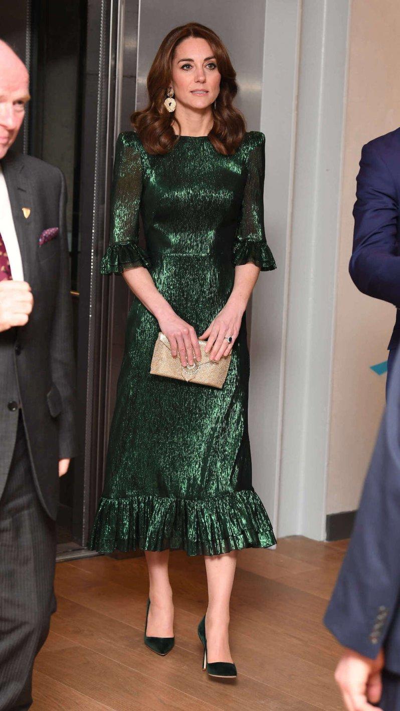 Wieder in Grün – auch am Abend zeigte sich Herzogin Kate in der irischen Landesfarbe. © picture alliance / empics