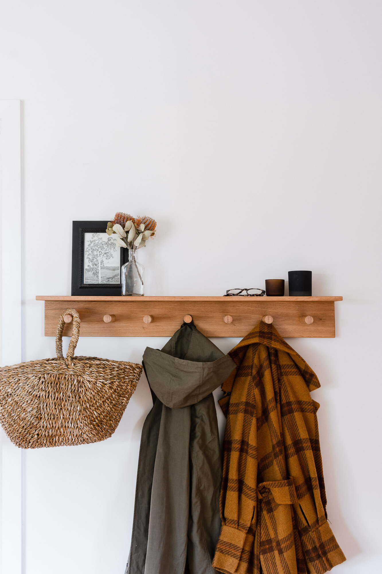 diy timber floating shelf coat rack