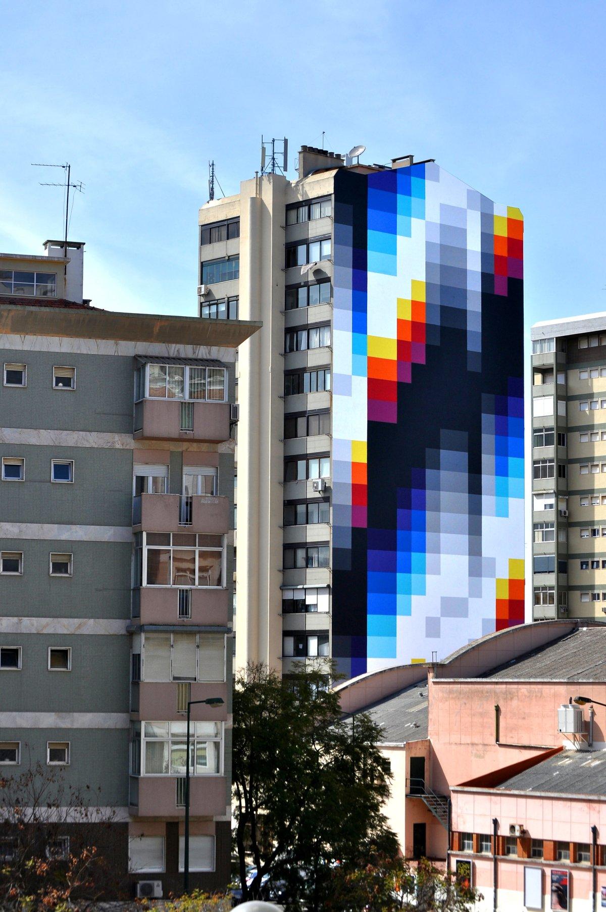 Futuristic Graffiti Glitches Mural - Felipe Pantone for Lisbon Mural for LisbonWeek