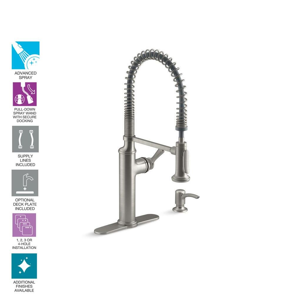 kohler sous pro style single handle pull down sprayer kitchen faucet in vibrant stainless williamsburg plumbing company