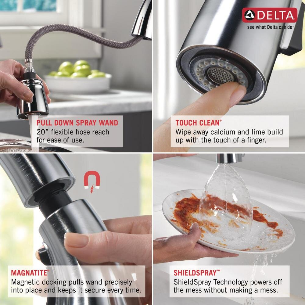 delta charmaine single handle pull down sprayer kitchen faucet with soap dispenser and shieldspray technology in stainless williamsburg plumbing