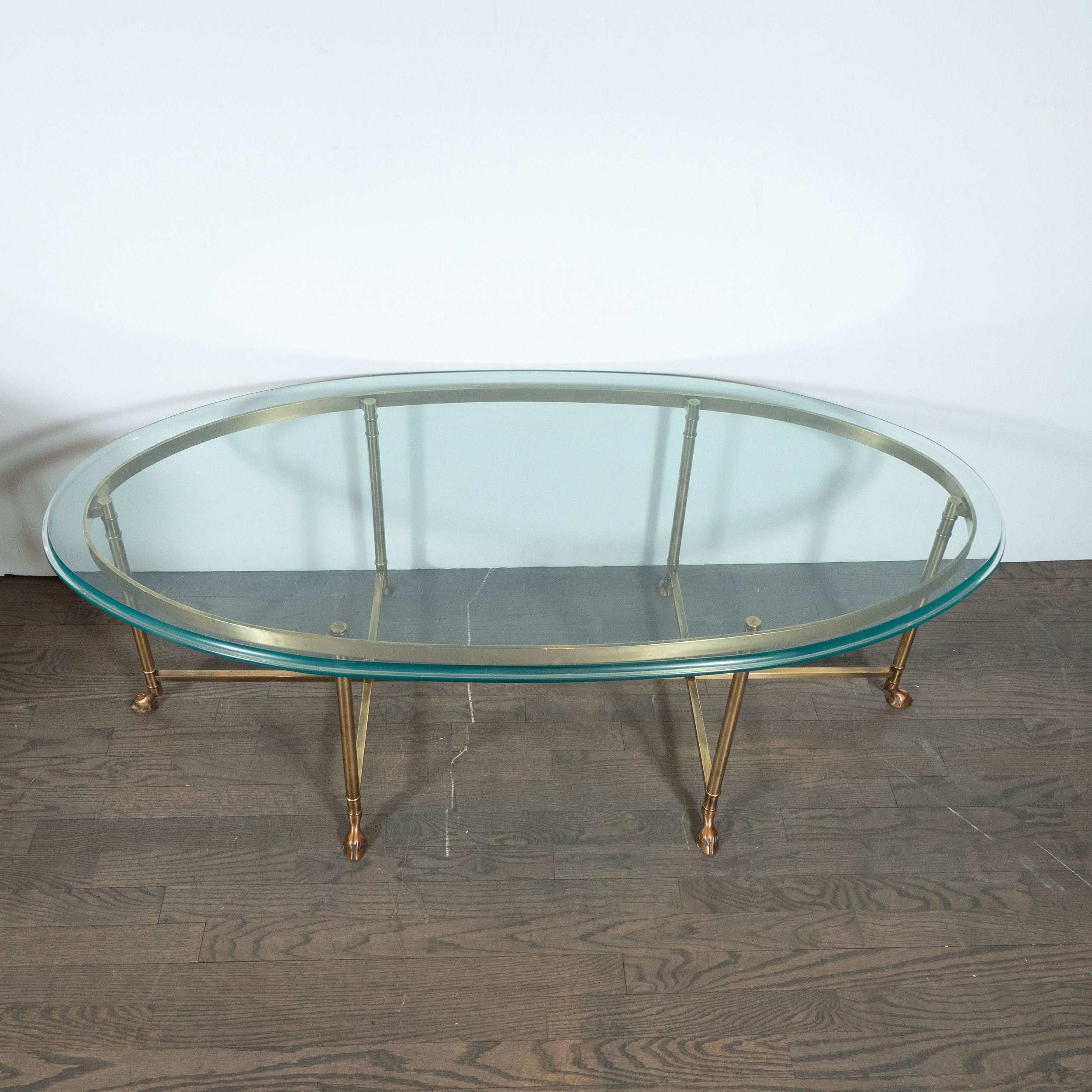 mid century modern brass and beveled glass cocktail table in the style of jansen high style deco