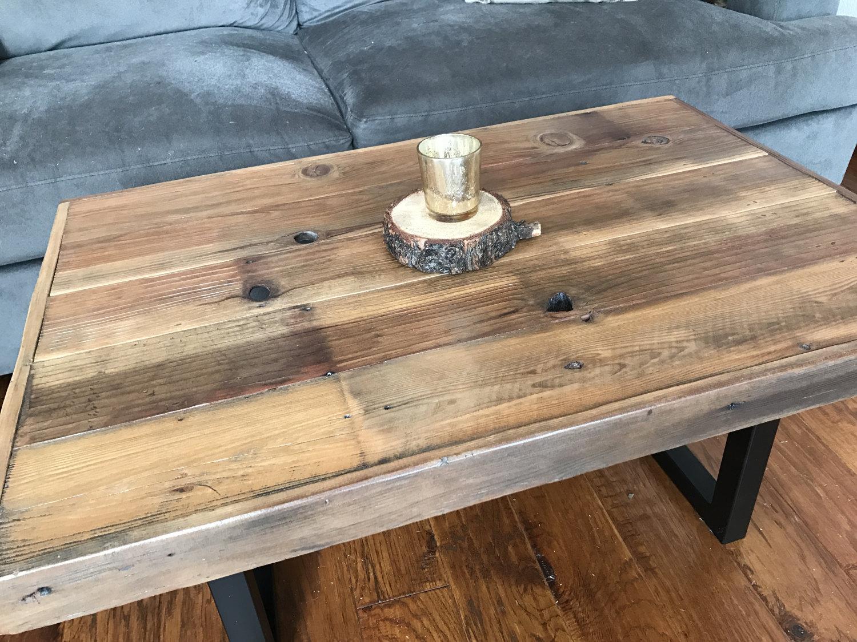 reclaimed wood coffee table with black tubular steel legs 2 sizes sierra studios woodworks