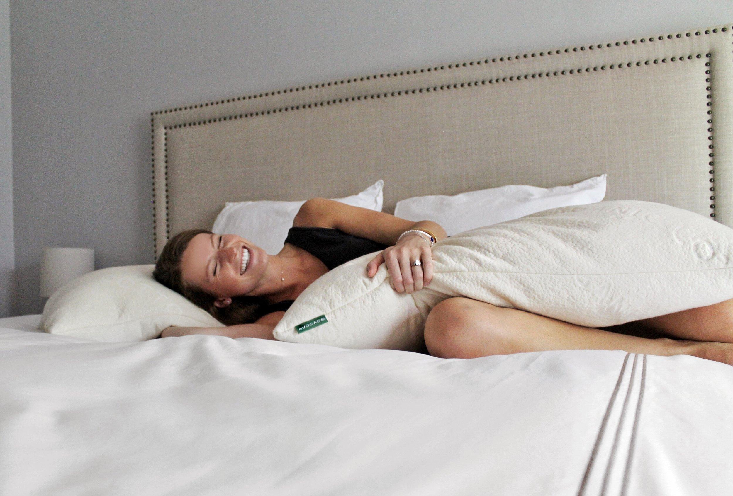 avocado green mattress pillows one
