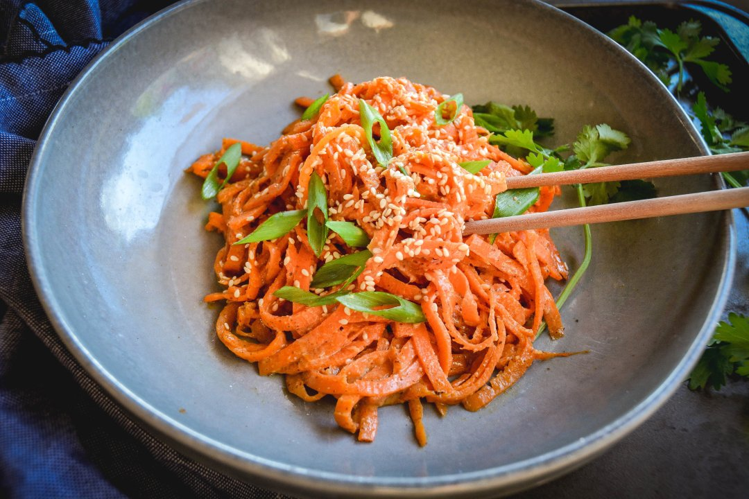 carrots noodes with almond sesame sauce