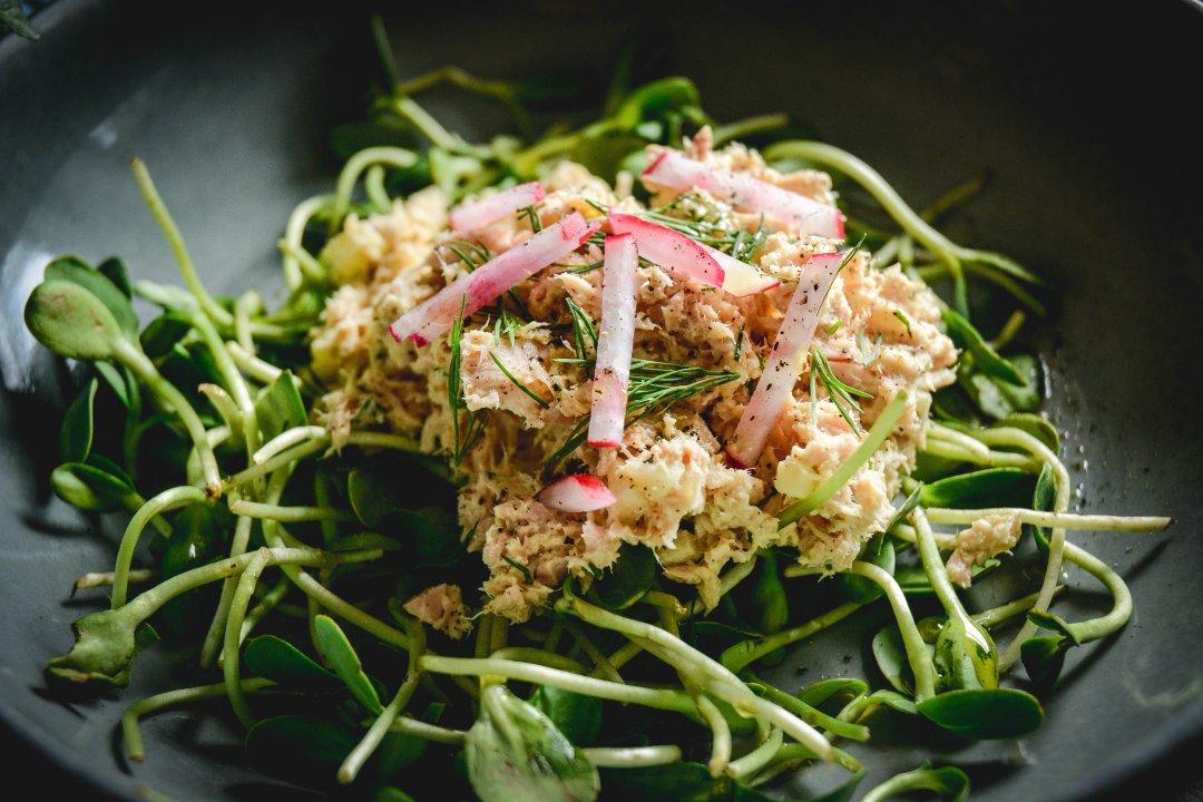 tuna salad over greens with radishes
