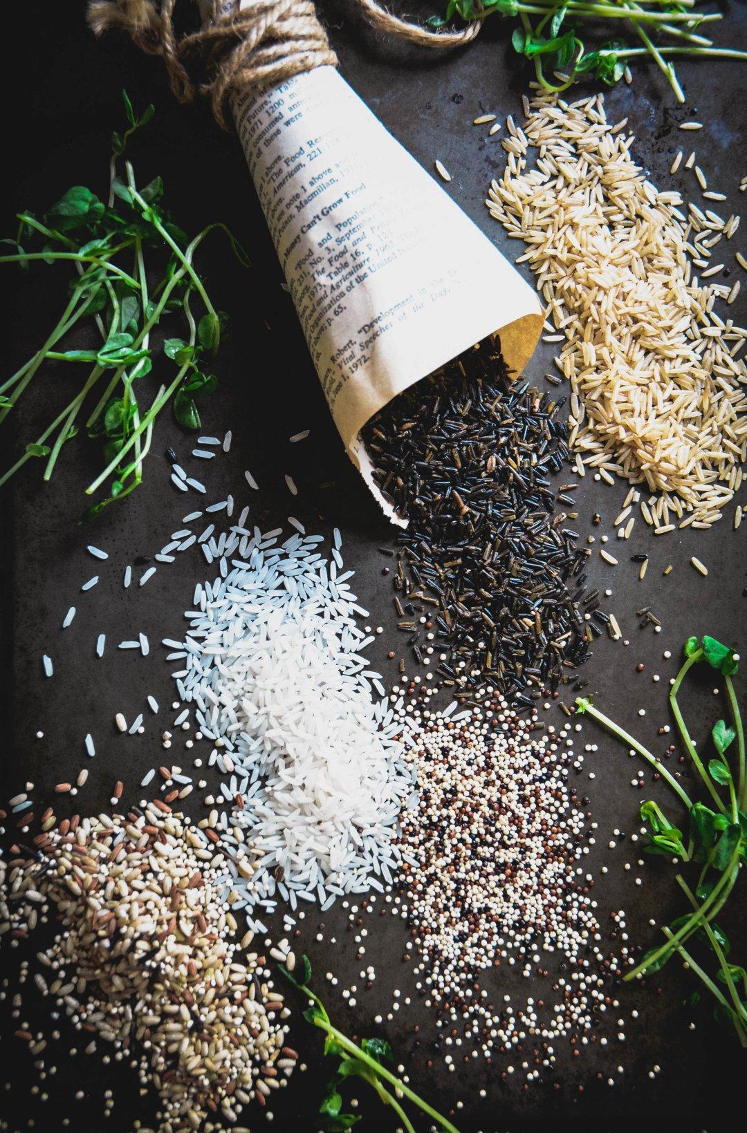 rice, quinoa, black rice, wild rice