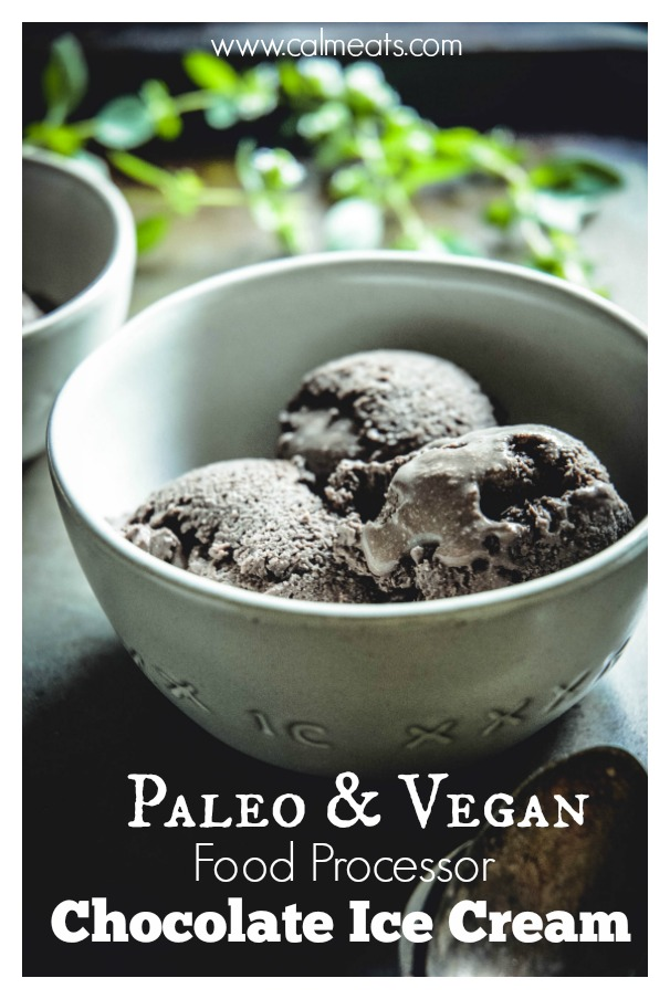 If you're in the mood for chocolate ice cream but not in the mood for all the additives and gut issues regular ice cream causes, check out this 5 minutes food processor recipe that's sure to satisfy that chocolate ice cream craving. It's paleo and vegan! #vegan, #paleo, #veganicecream, #vegandessert, #paleoicecream, #chocolateicecream, #coconutmilk, #cocoa, #dessert, #vegandessert, #calmeats #healthyrecipes