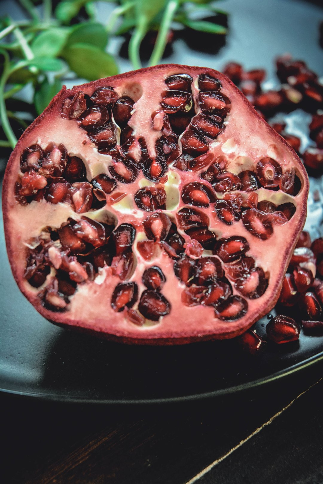 pomegranate, greens and seeds