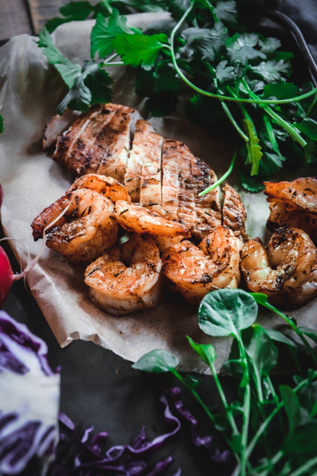 Jerk Chicken and Shrimp on tray
