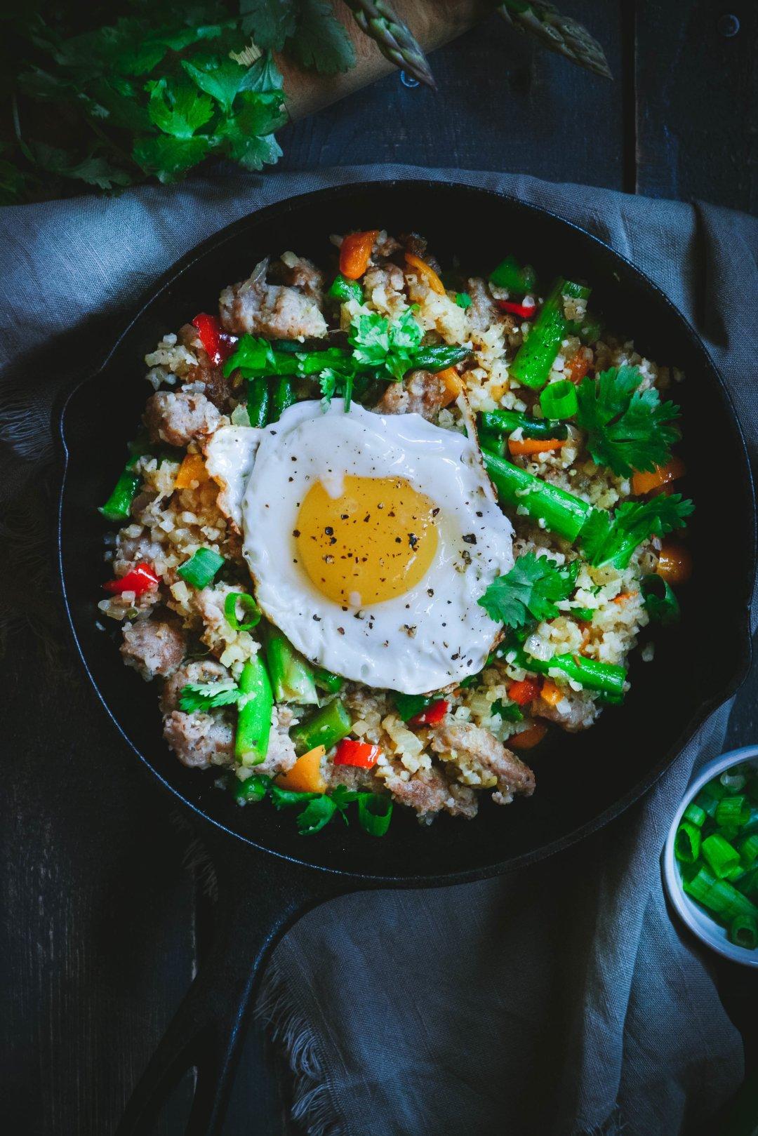 Asparagus sausage scramble in pan