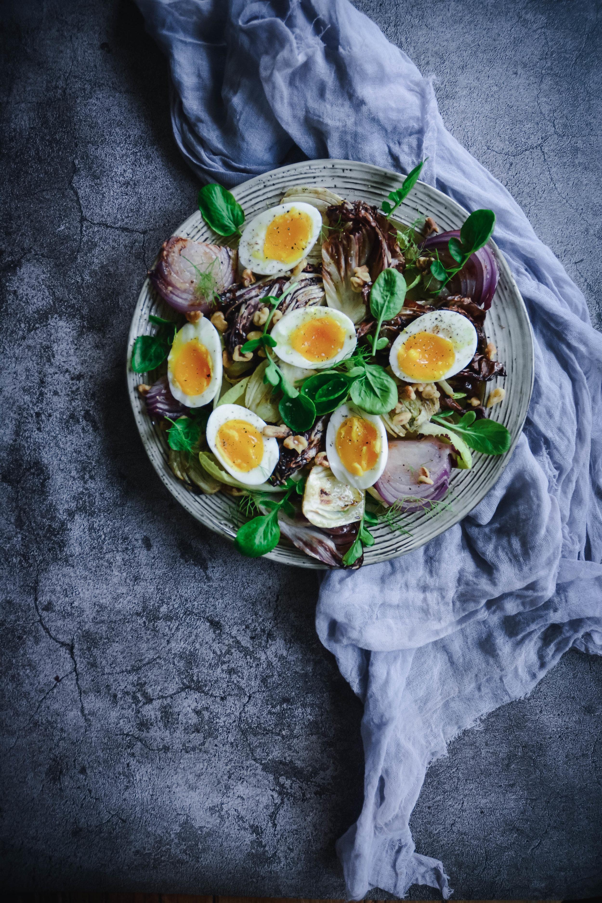 Radicchio salad with eggs on napkin