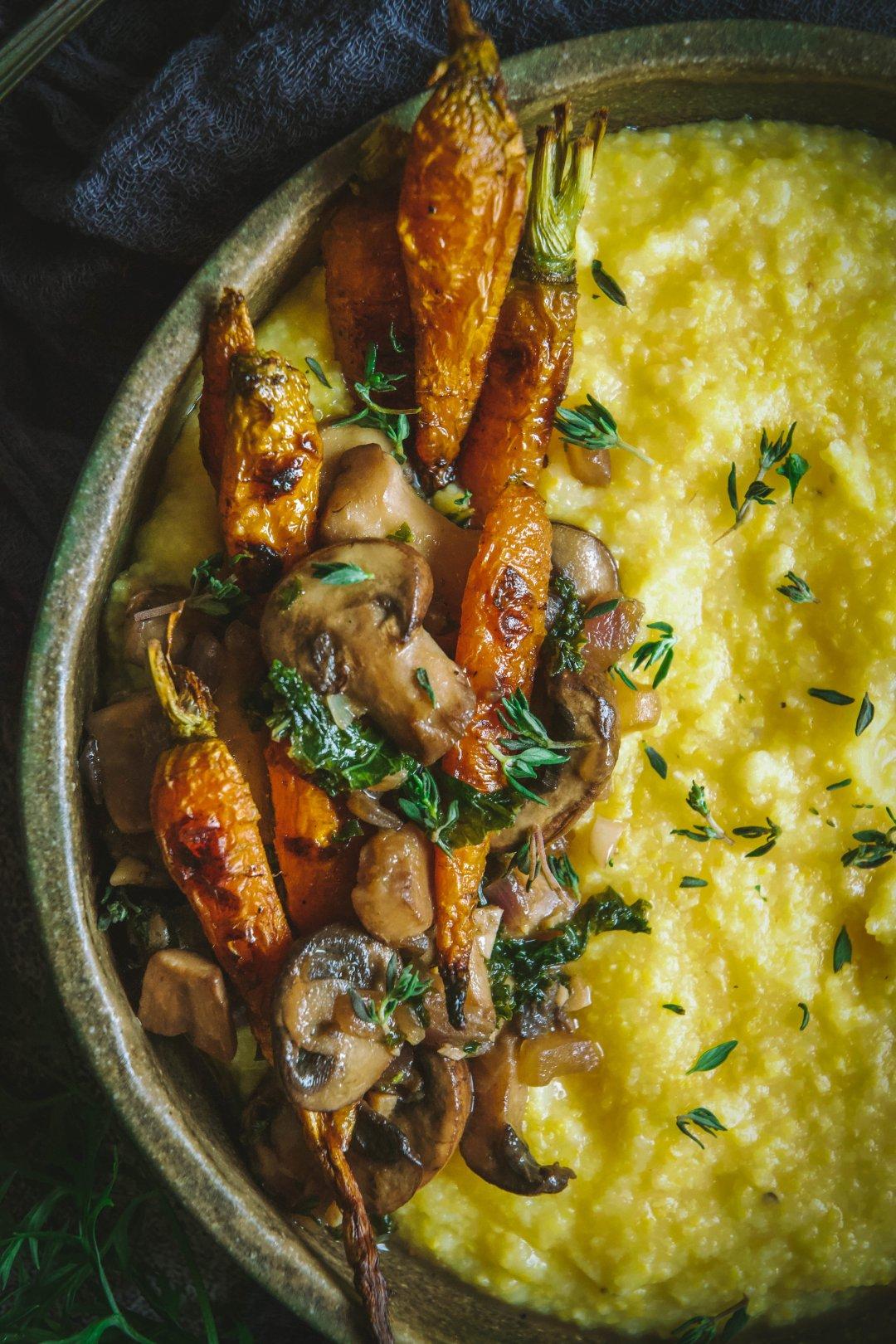 Roasted carrots and mushrooms over polenta