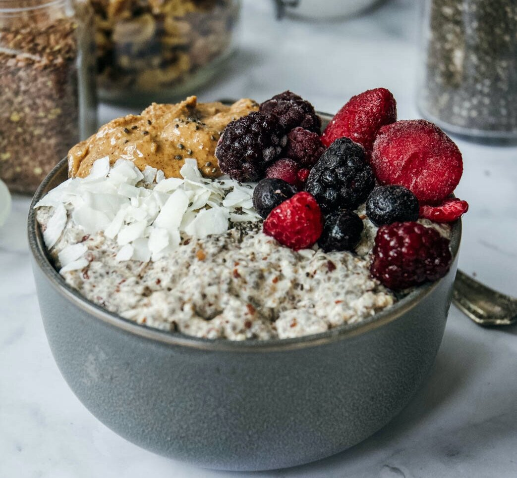 Overnight paleo oatmeal in bowl