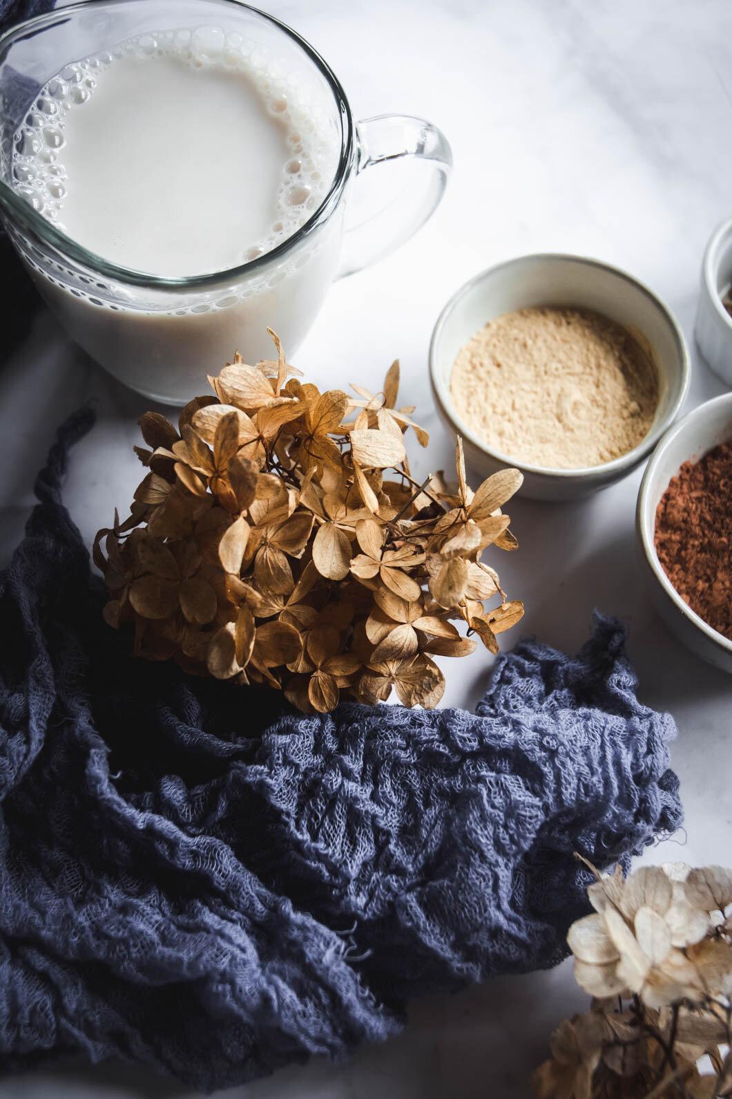 Dried flower, almond milk, maca, napkin