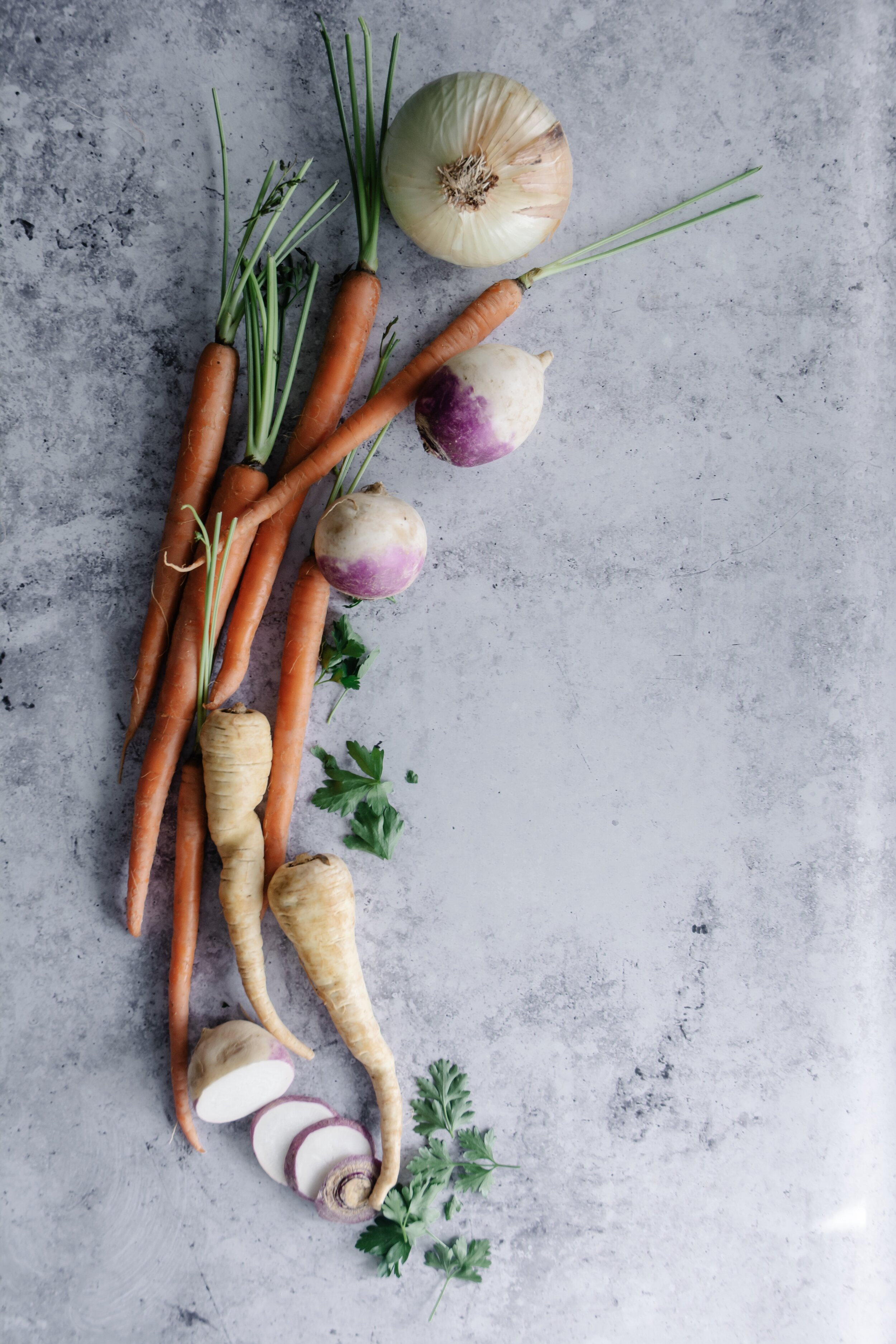 Root vegetables on table