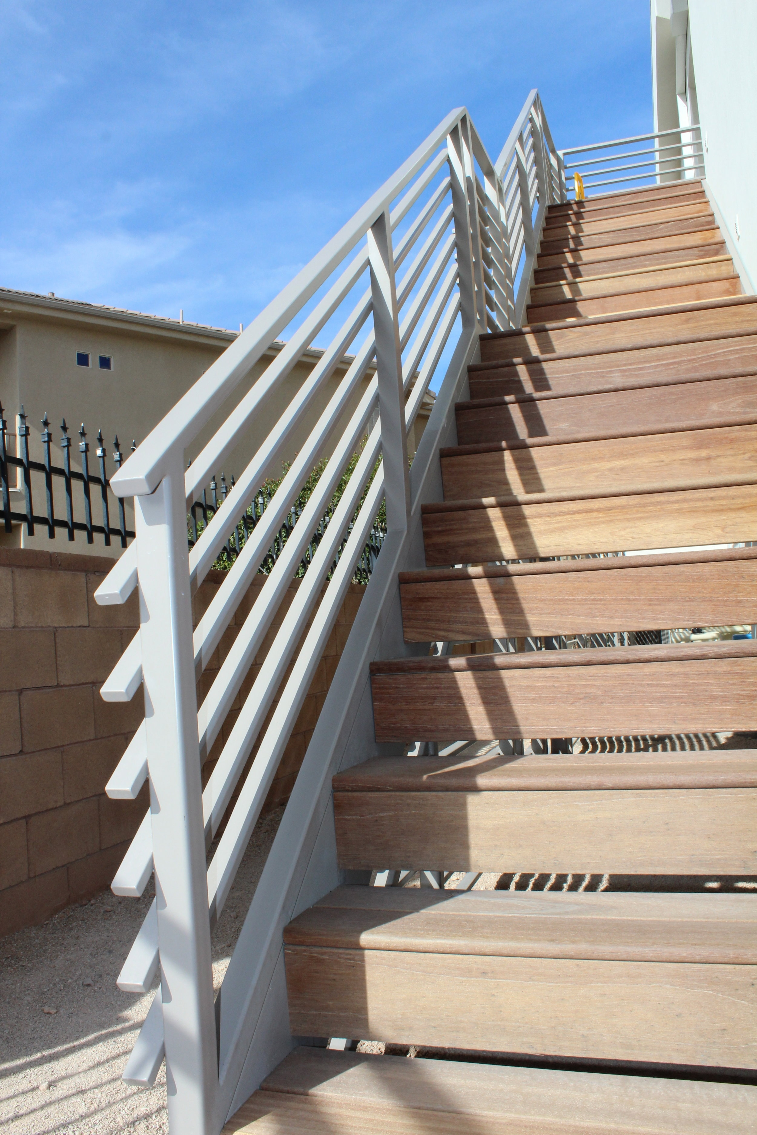 Exterior Staircases — Titan Architectural Products Of Utah   Metal And Wood Stairs   Straight   Diy   Residential   Rustic   Stair Railing