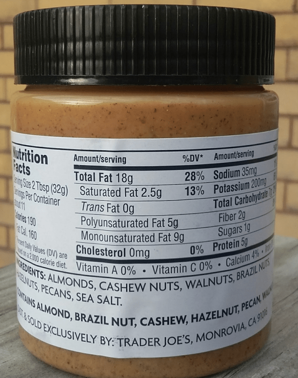 Trader Joes Mixed Nut Butter Nutrition label