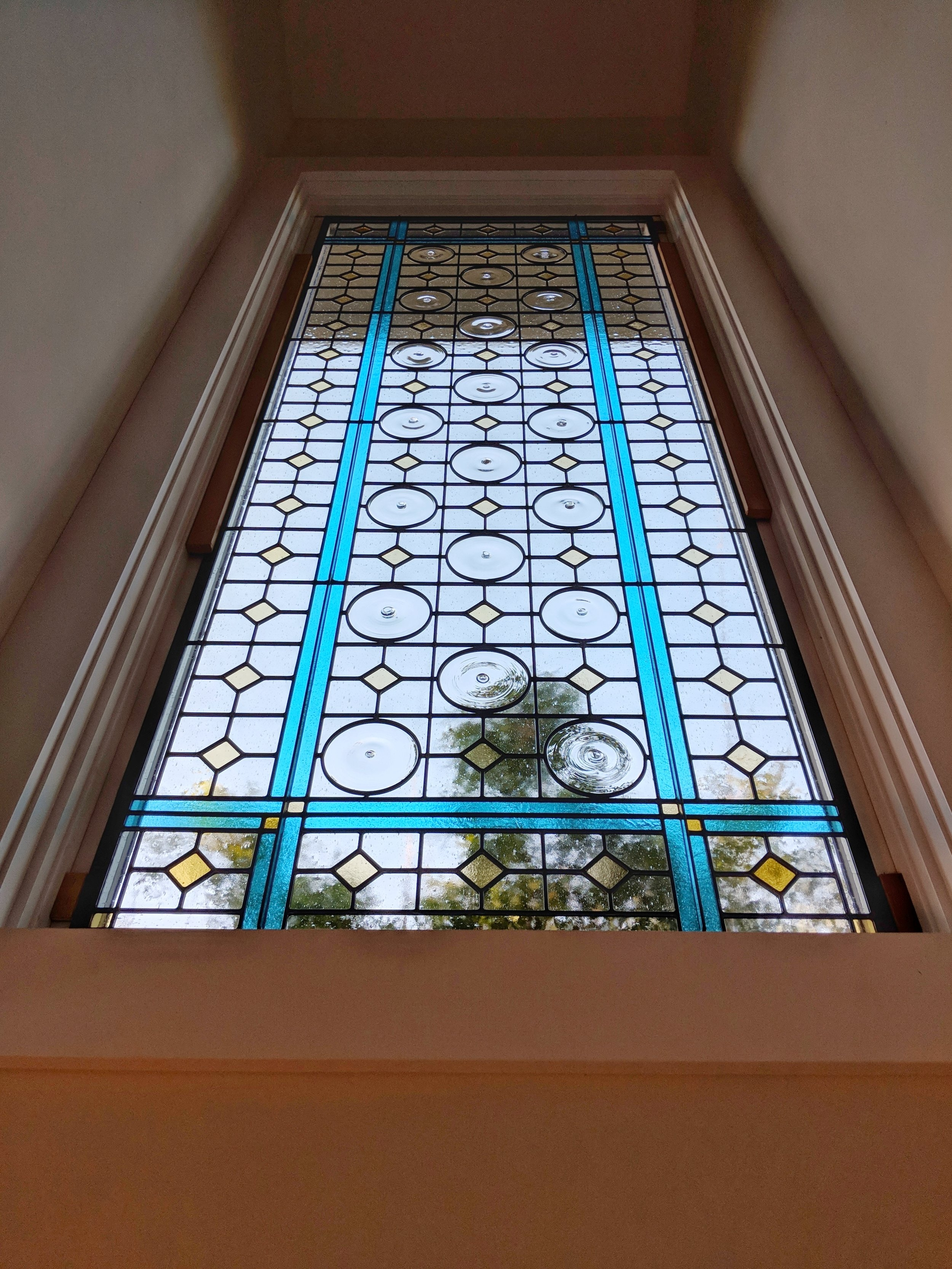 Craftsman Stained Glass Design — Legacy Glass Studios   Modern Staircase Window Design   Corner   Indian   Stair Case   Fixed Frame   Beautiful