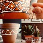 Diy Boho Aztec Painted Terracotta Plant Pots Style Squeeze