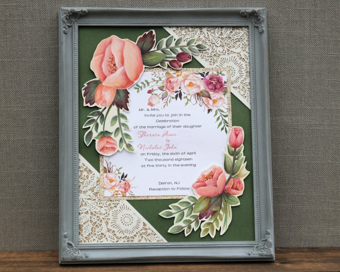 Sline Paintery 8 X 10 Framed Wedding Invitation Keepsake