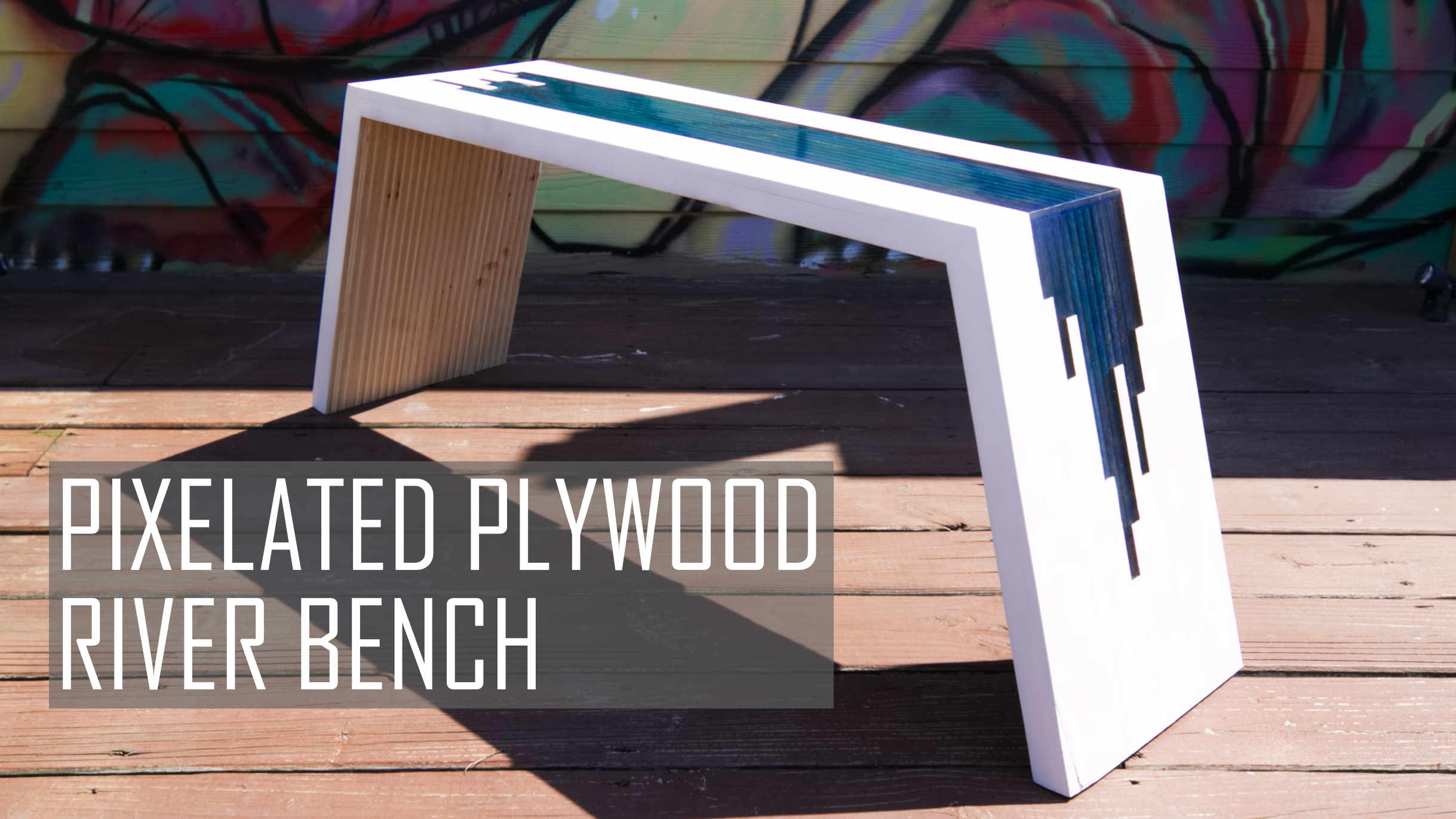 pixelated plywood river bench