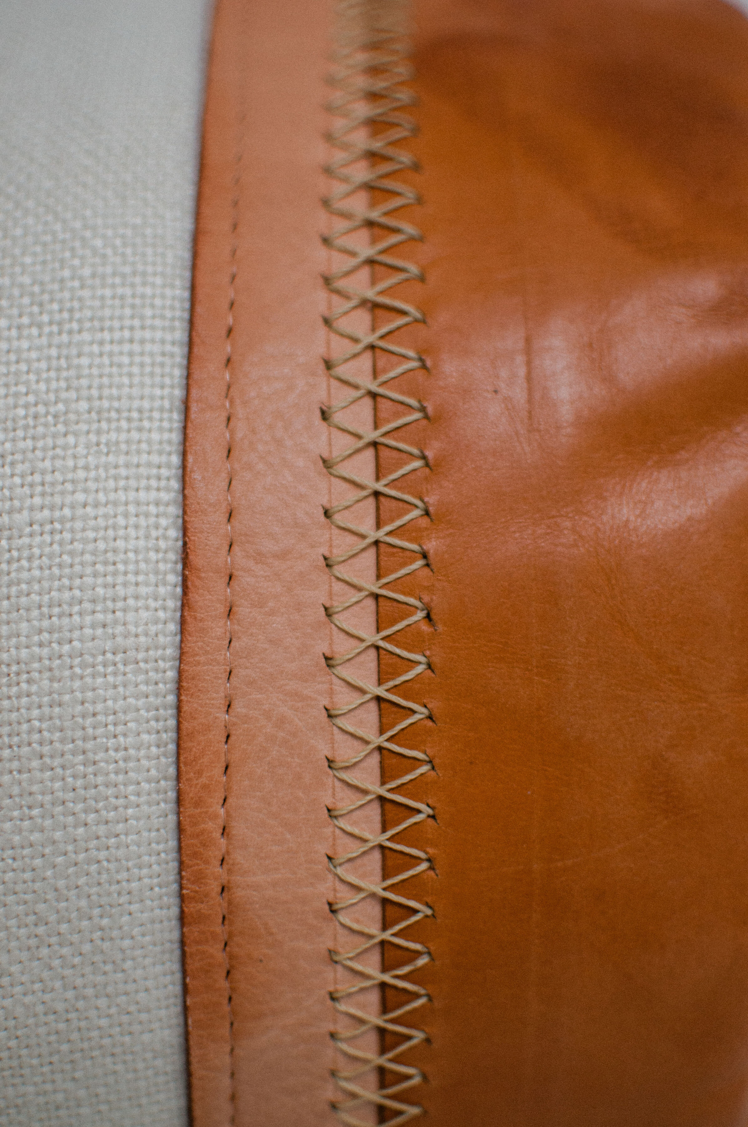 hand stitched leather bolster pillow holly gagne