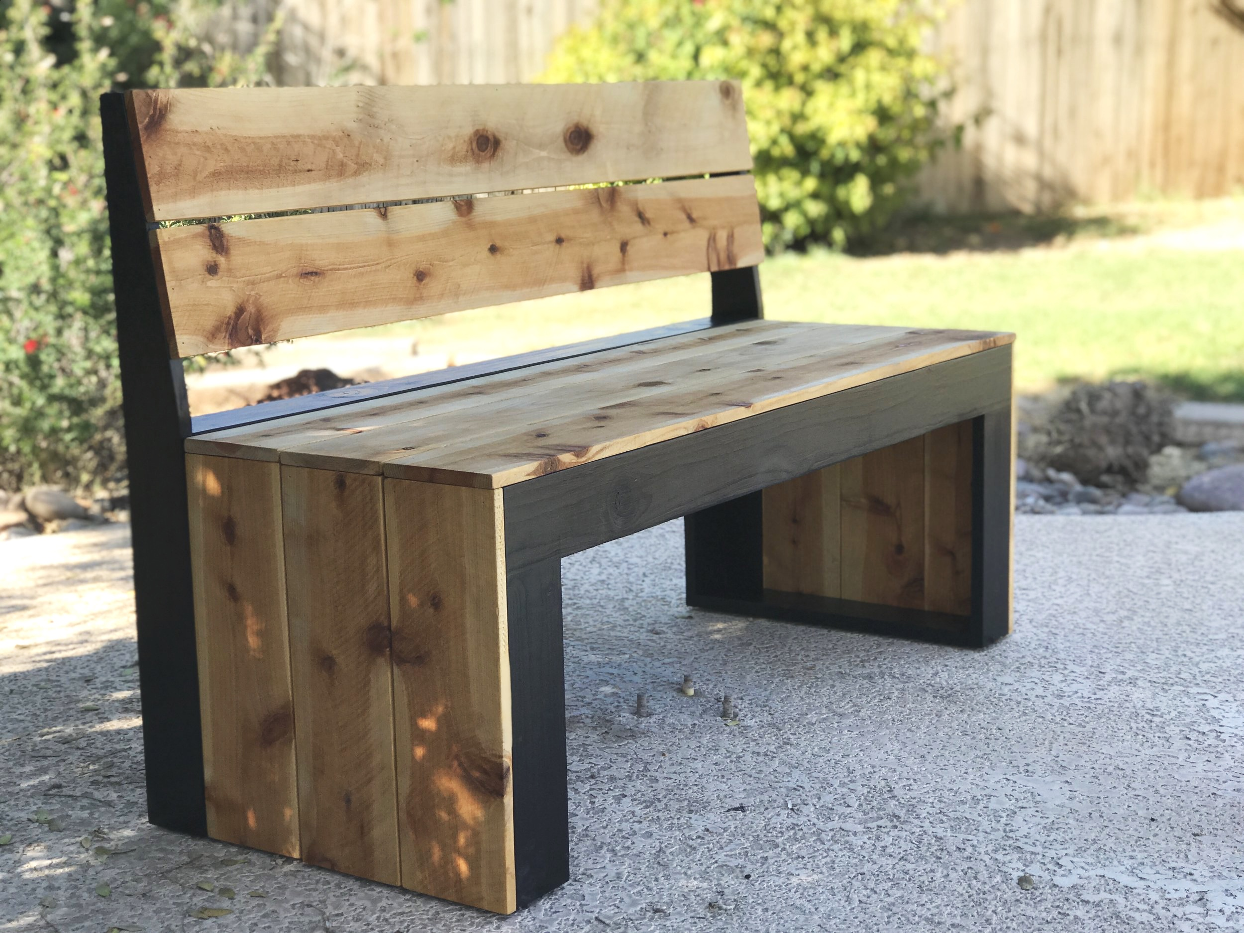 diy modern bench with back the