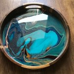 Teal Green And Copper Abstract Tray 66 Kathryn Beals