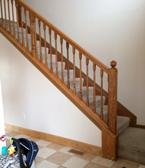 Diy Stair Makeover Carpet To Hardwood — Schooley Caldwell | Changing Carpeted Stairs To Wood | Stair Railing | Wood Flooring | Stair Case | Laminate Flooring | Staircase Makeover