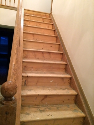 Diy Stair Makeover Carpet To Hardwood — Schooley Caldwell | Wood Steps With White Risers | Timber | Wood Stair | Before And After | Color | Stair Tread
