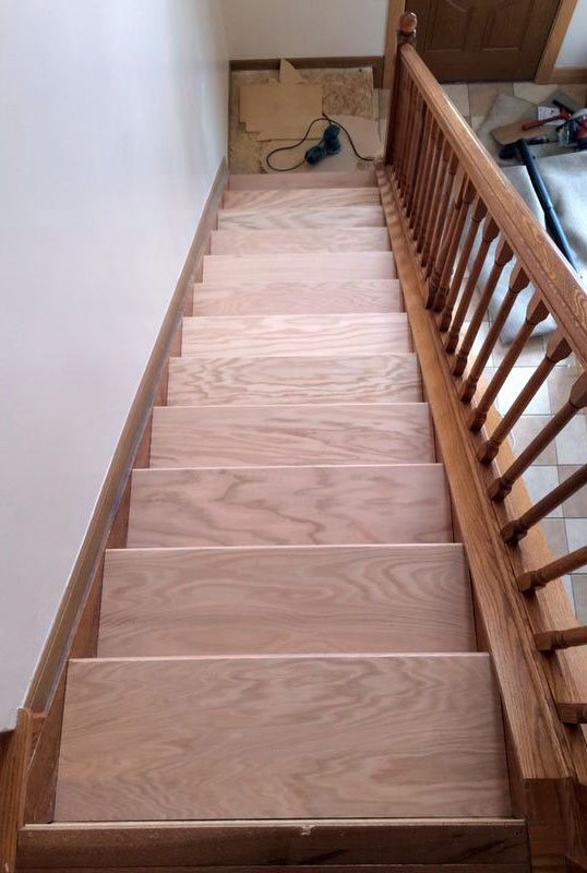 Diy Stair Makeover Carpet To Hardwood — Schooley Caldwell   Carpeted Stairs To Wood   Brown Flooring   Wooden   Vinyl Plank   Middle Open Concept   Carpeting