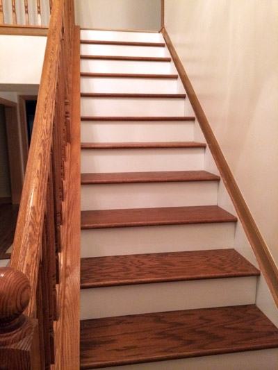 Diy Stair Makeover Carpet To Hardwood — Schooley Caldwell | Installing Hardwood Stairs Over Existing Stairs | Stair Nose | Carpeted Stairs | Risers | Wood Flooring | Stair Railing