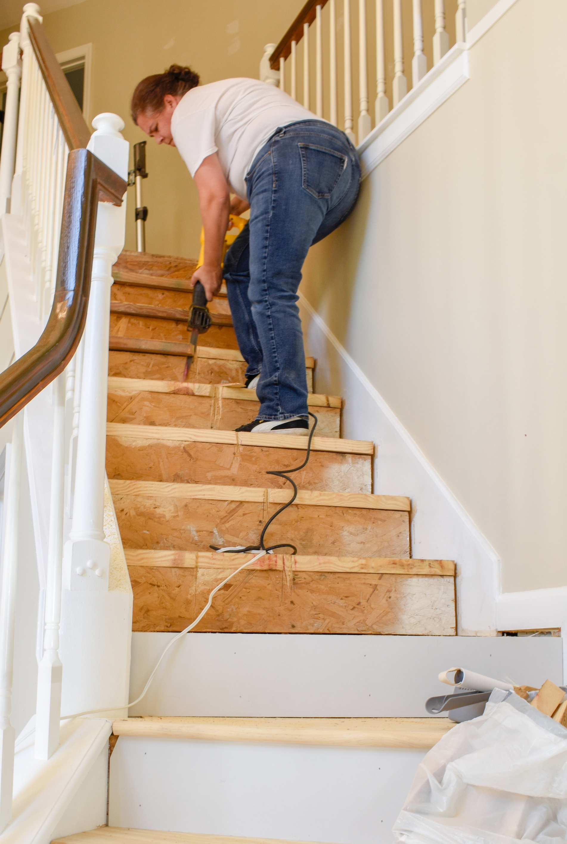 Diy Hardwood Staircase Makeover Replacing Carpet With Wood Treads | Tread Boards For Stairs | Barn Wood | Unfinished Pine | Stair Parts | Reclaimed Wood | Stair Case
