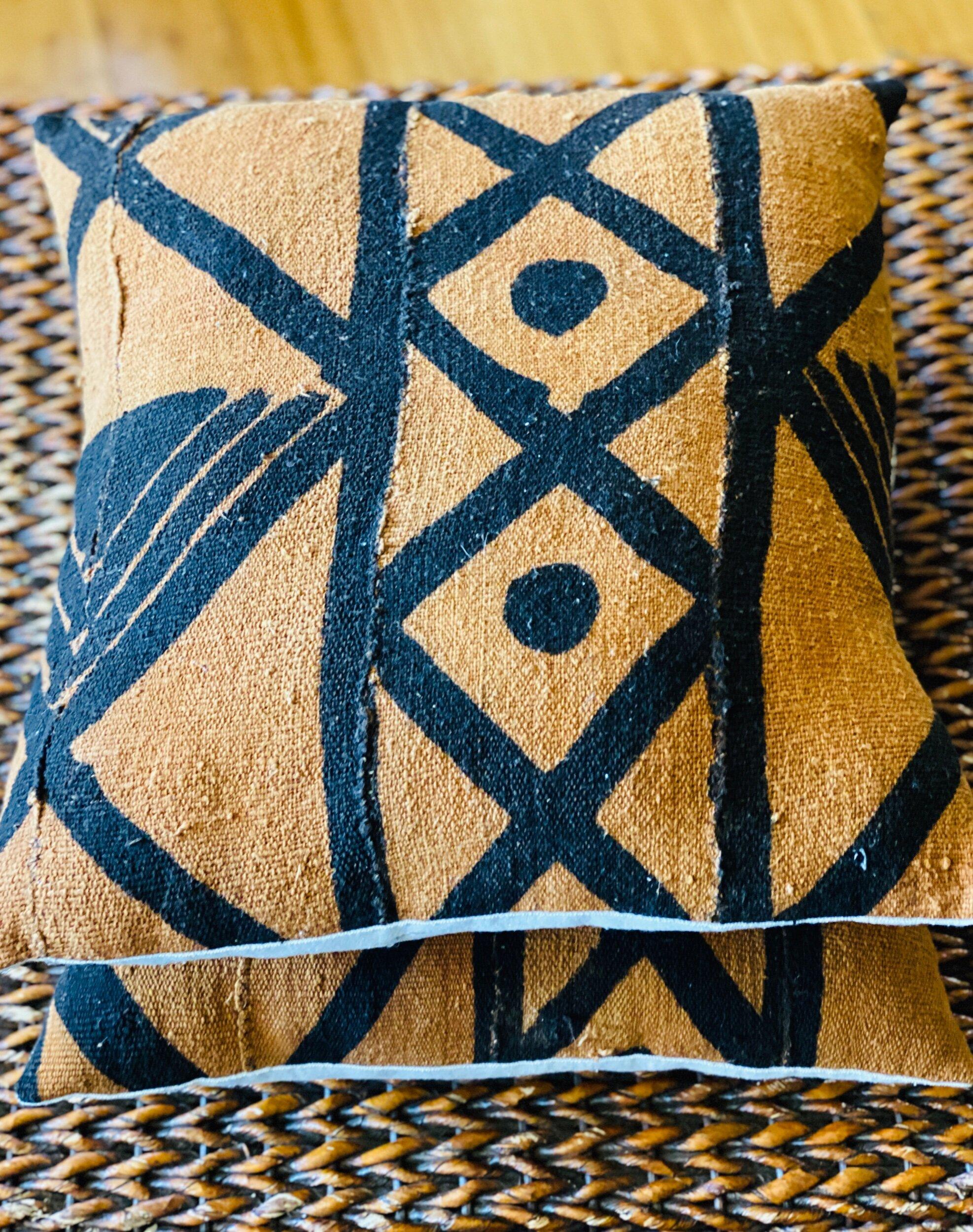 rust black mudcloth pillows 18 zaric fair trade