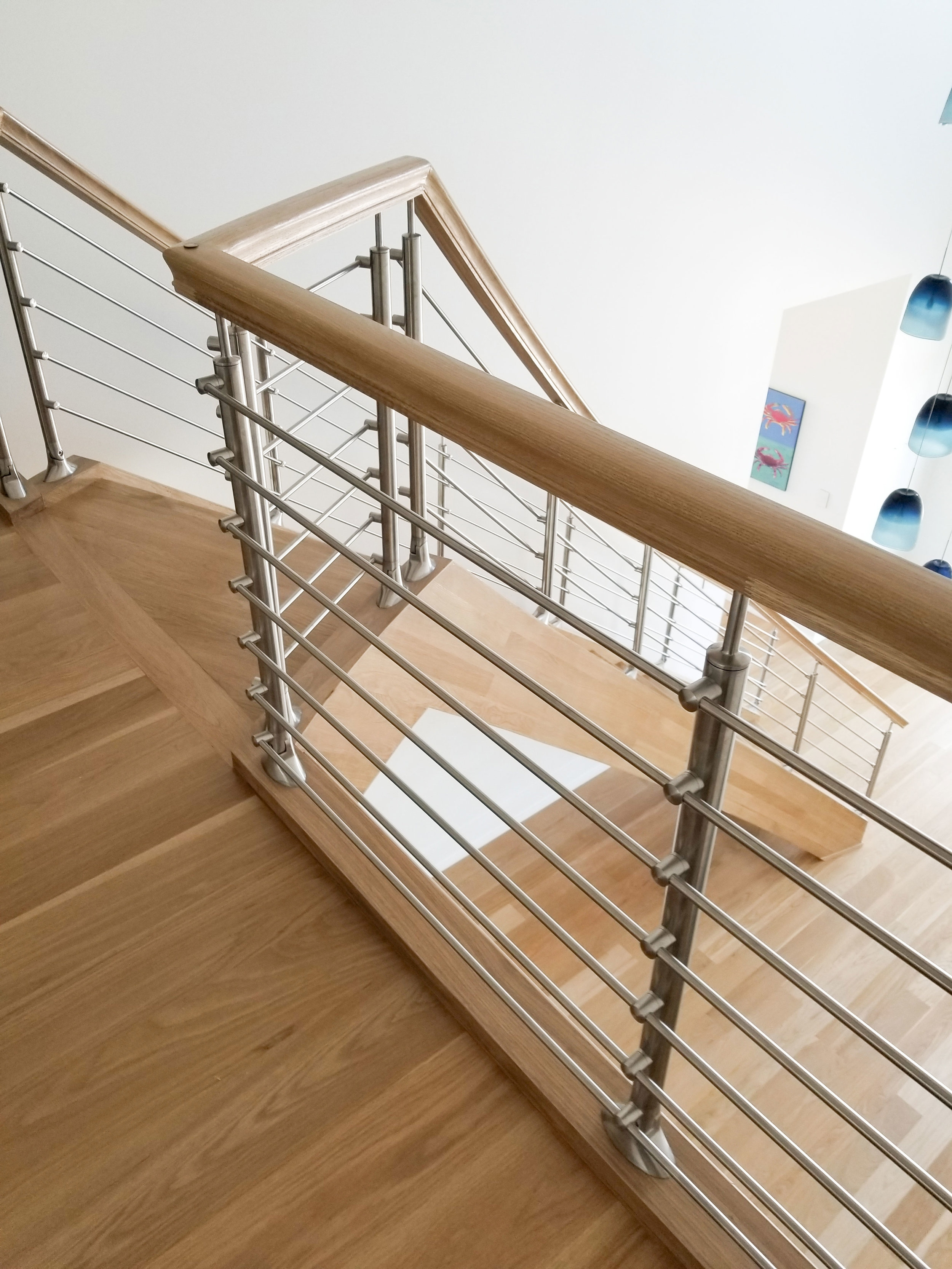 Handrails Fittings — Oak Pointe Stair Parts And More | White Oak Handrail Round | Flooring | Wood Handrail | Foyer | Mopstick | Staircase