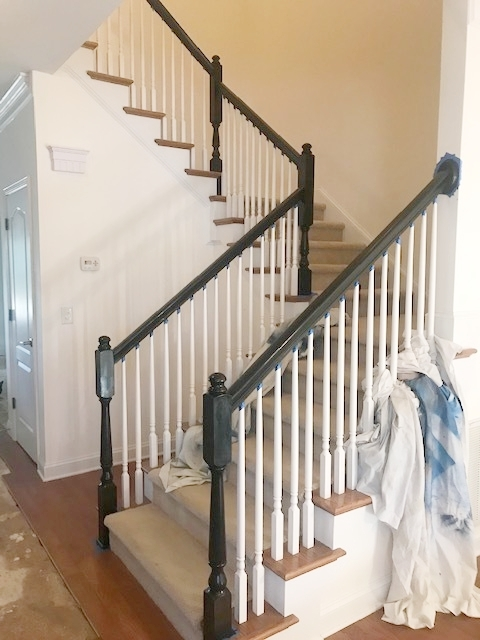Stained Basic Oak Banisters Classic Black — Styled By Lauren Mccombs   Black Banister With White Spindles   Round   Antique   Finished Painted Stair   Oak Handrail Basket   Brazilian Cherry Stair