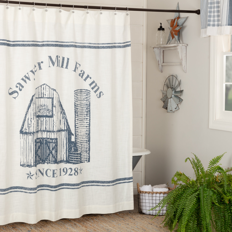 sawyer mill blue barn shower curtain 72x72 bath pine valley quilts