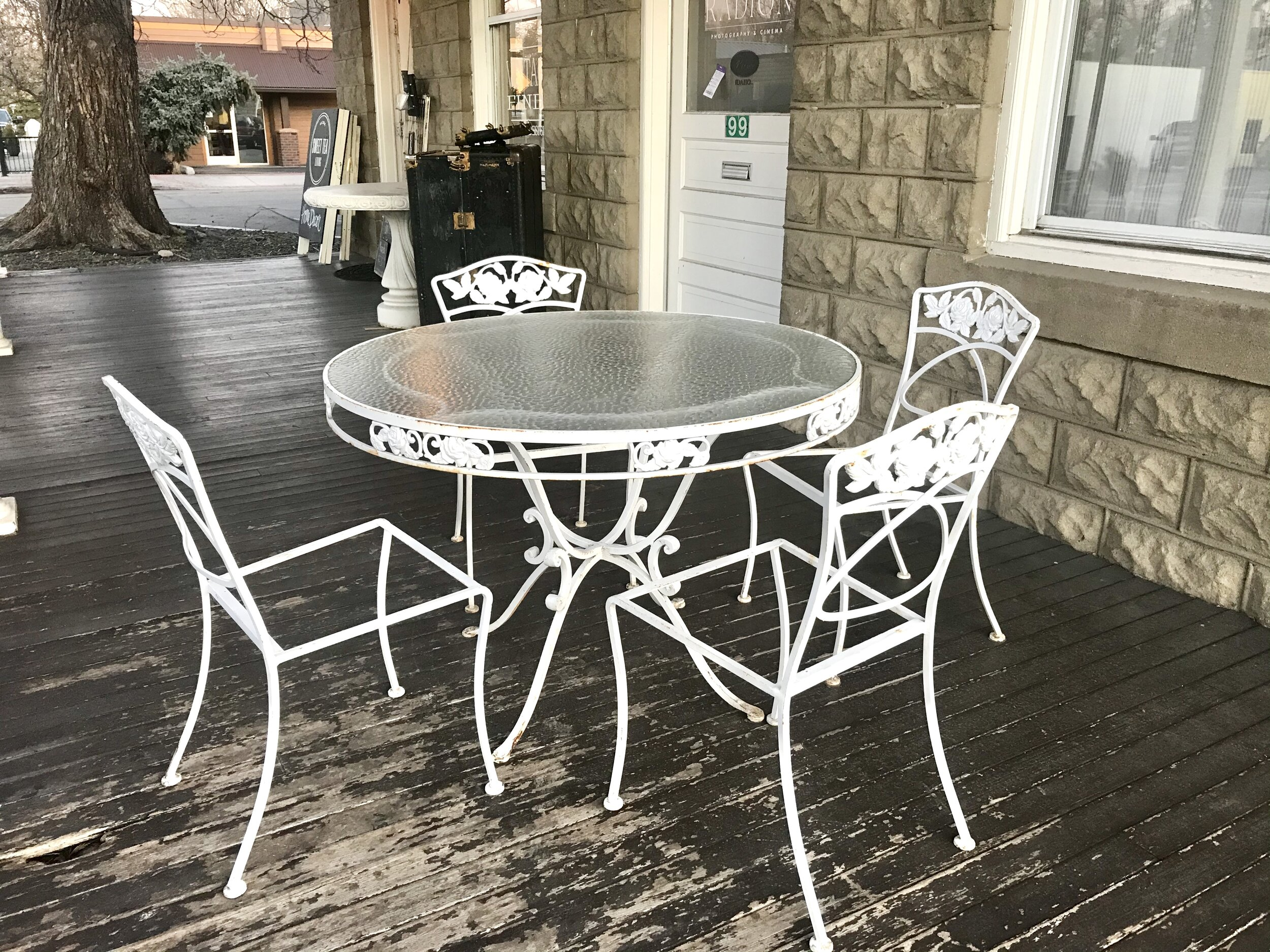 white wrought iron patio dining set sweet tea living