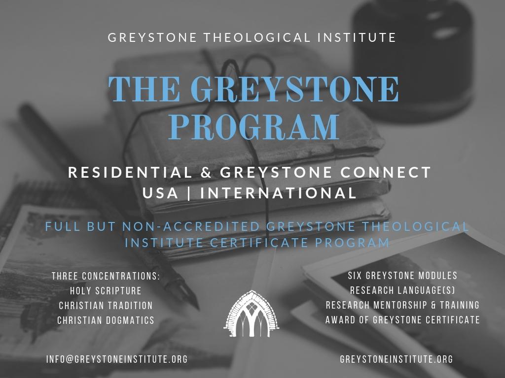 The Greystone Program Certificate Greystone Theological