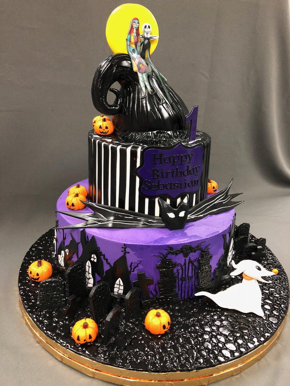 The Nightmare Before Christmas Theme 1st Birthday Cake Skazka Desserts Bakery Nj Custom Birthday Cakes Cupcakes Shop
