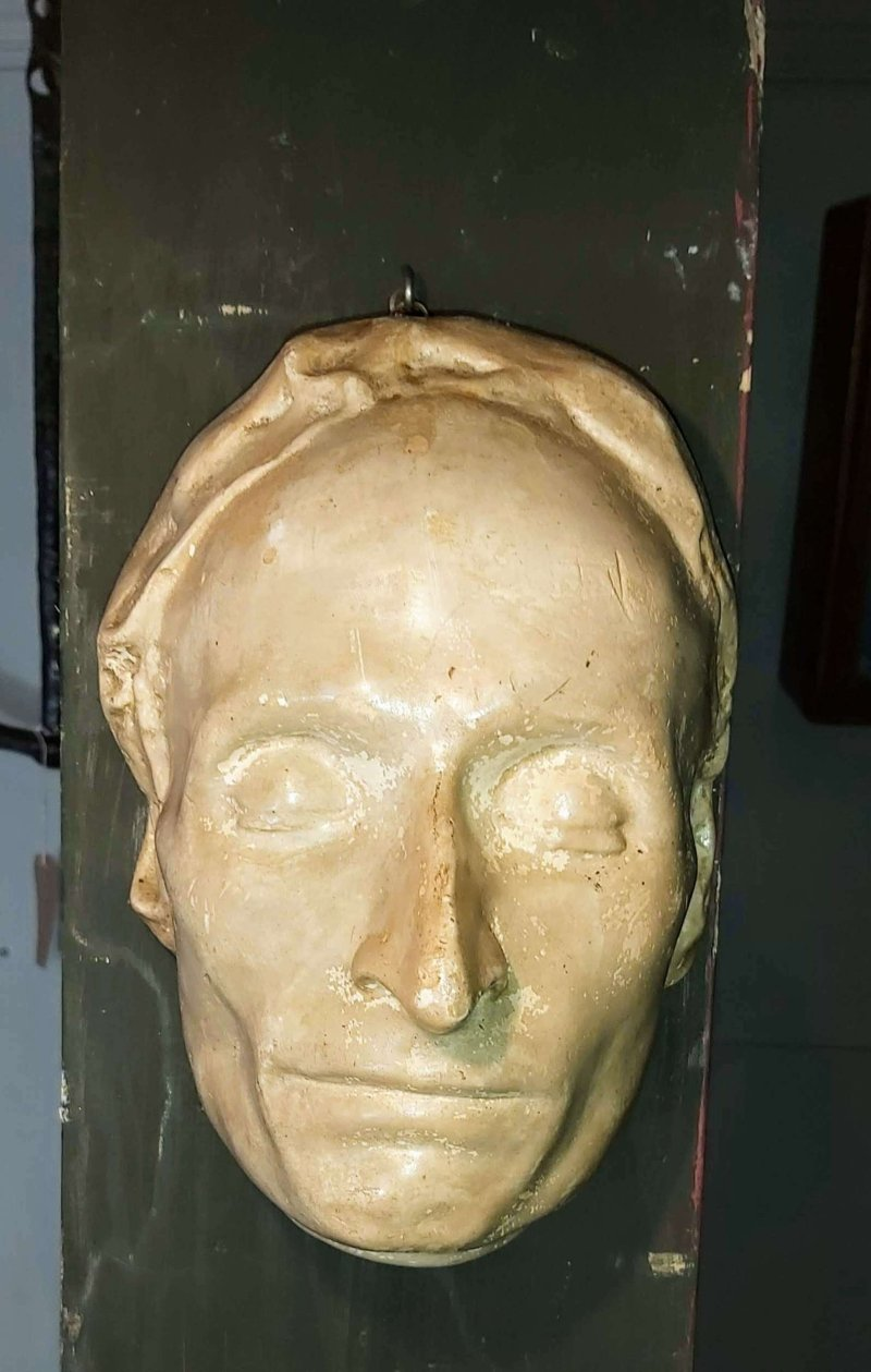 Pascal's death mask, 1662. If he was true to his wager, then he is either in heaven or if heaven doesn't exist, non existent.
