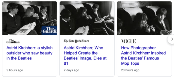 Articles about Astrid Kirchherr.