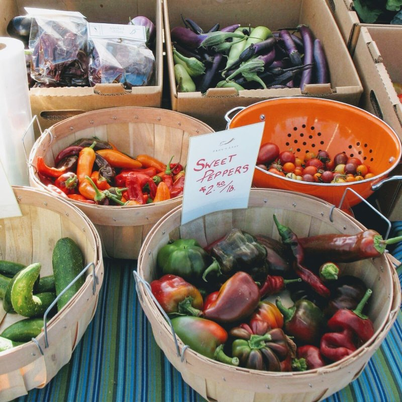 Tomatoes, peppers, cucumbers and eggplant…late summer's flavors and colors.