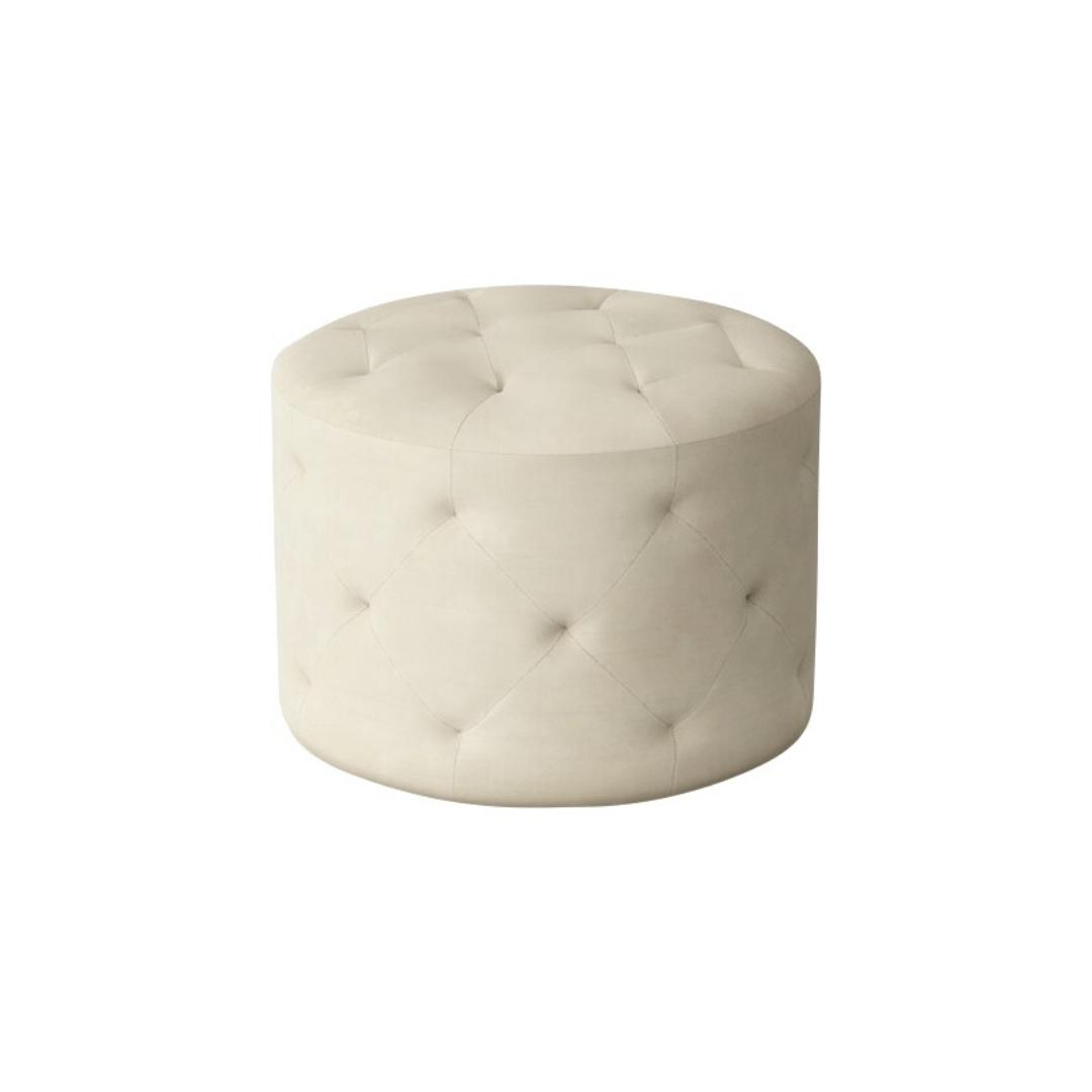 tufted cream velvet ottoman