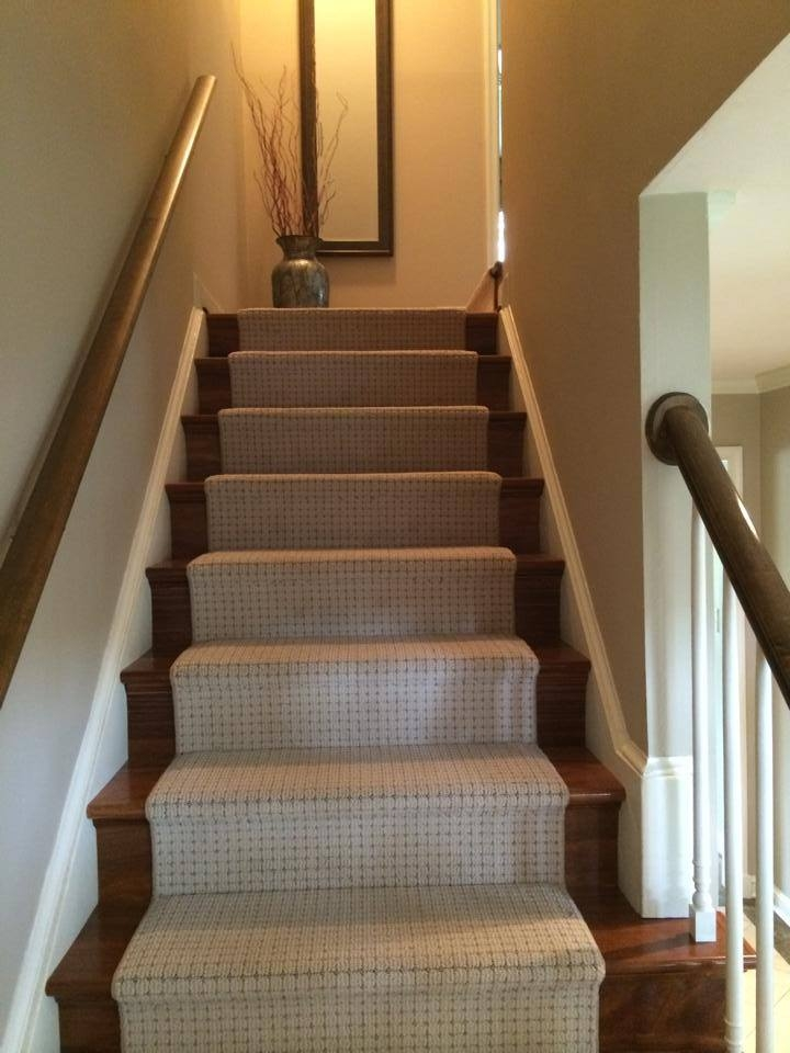Custom Carpet Runner On Brazilian Teak Stairs — Beers Flooring | Carpet And Hardwood Stairs | Wooden | Before And After | Wall To Wall Carpet | Grey | Design